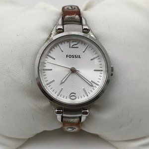 Fossil Women Watch Silver Tone Genuine Leather Ban